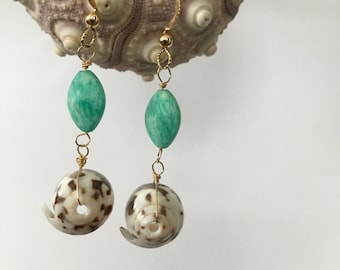 Puka Shell Earrings, Gold Fill, Amazonite, Made in Hawaii, Hawaiian Beach Earrings, Gray, Aqua, Simply Sparkle Designs (Style 1005)