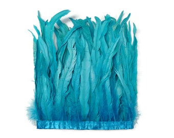 Rooster Tail Feathers, 1 Yard - BLUE Bleach Coque Tails Feather Trim : 3170