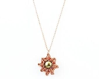 Celtic Eclipse Necklace - Swarovski Light Green Pearl and 14kt Rose Gold Filled