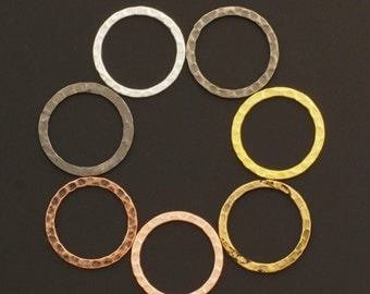 7 Hammered Round Components  - 20mm - 7 Finishes - 100% Guarantee