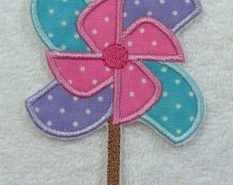 Pinwheel Spinner Fabric Embroidered Iron on Applique Patch Ready to Ship