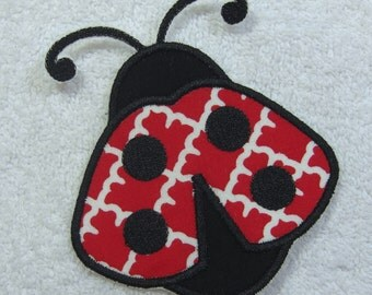 Ladybug Fabric Embroidered Iron On Applique Patch Ready to Ship