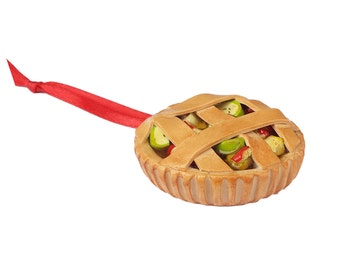 APPLE PIE Polymer Clay Christmas Tree Ornament with Bakery Box
