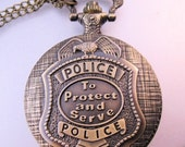 HALLOWEEN SALE Police Pocket Watch Policeman with Chain Vintage Style