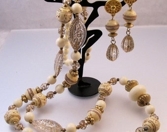 """BIGGEST SALE of the Year 1980s Faux Ivory Bead Necklace 36""""  with Drop Earrings Pierced Set Demi Parure"""