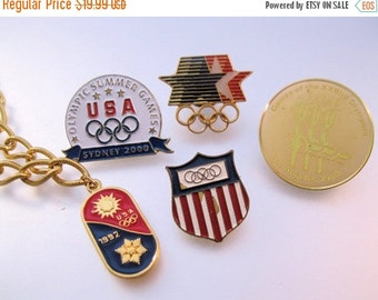 HALLOWEEN SALE Olympic Games Pins & Bracelet Lot from 1984 1992 2000 with Display Box