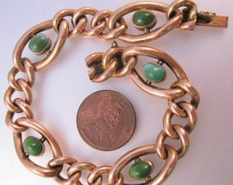 Antique 9k 9ct 9kt 9c Rose Gold Turquoise Curb Bracelet 18.9g Vintage Jewelry Jewellery