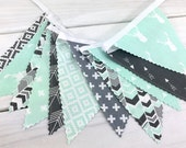 Bunting Banner, Gender Neutral Nursery Decor, Birthday Decoration - Mint Green, Gray, Aztec Nursery, Tribal Nursery, Arrow, Deer, Woodland
