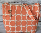 DSLR Camera Bag, Orange & Natural - Nautical - Digital storage in style! Lightweight and Washable by Darby Mack Made in the USA, in stock