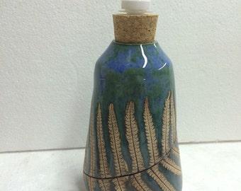 Pottery Blue/Green Fern Soap/Lotion Dispenser pump