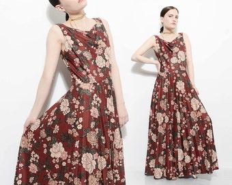 Vintage 70s Brown Floral Dress Cowl Neck Accordion Pleated Circle Skirt 1970s Bohemian Maxi Dress Medium M