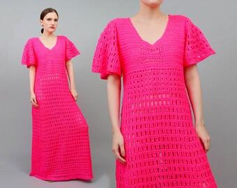 Vintage OOAK 70s BRIGHT Pink Hand Knit Sheer Crochet Flutter Sleeve Boho Hippie Maxi Dress Small Medium S M