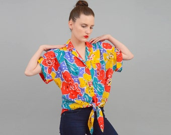 20% off SALE Vintage 80s Colorful Abstract ARSTY Floral Print Shirt Slouchy Oversize Slouchy Tie Waist Button Up Top S M L
