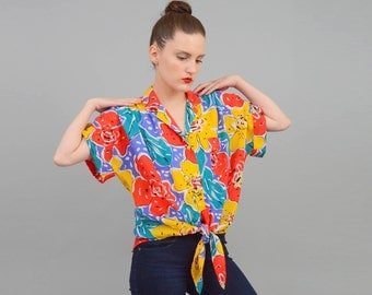 Vintage 80s Colorful Abstract ARSTY Floral Print Shirt Slouchy Oversize Slouchy Tie Waist Button Up Top S M L