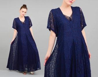 Vintage 90s Maxi Dress Navy Sheer Lace + Gauze GYPSY Grunge Short Sleeve Blue Dress Small Medium S M