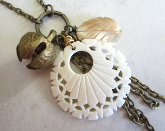 Bone & Shell Cluster Pendant Necklace - Lovely Boheme Collection