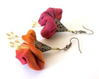 LetsPartySale Red renaissance flower earrings, Asymmetrical flower earrings, deep orange red flower earrings, fiber flower earrings