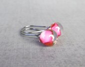 Orchid Pink Small Dangles, Small Pink Earrings, Small Wire Dangle Earrings Pink, Lampwork Earrings, Oxidized Sterling Silver Earrings Wire