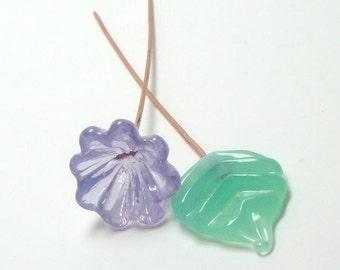 Handmade lampwork headpins  - Lilac Flower & Seafoam leaf - lampwork flower, mint leaf head pin, lavender lampwork , floral headpins