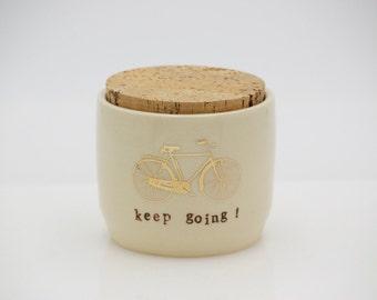 Ceramic jar with a cork lid,bicycle jar, insperational jar , storage jar, ceramic jar, modern design, lidded cork jar