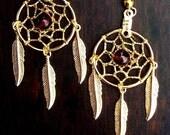 SALE SEMINOLE WIND Gold Dream catcher earrings with garnet, dreamcatcher earrings, dream catcher jewelry