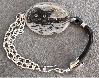 Pouncing cat resin bracelet; block print jewelry; cat block print bracelet