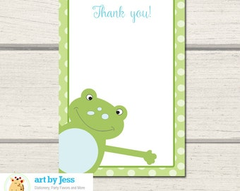 Green Leap Frog Thank you Note, Print your own Thank you cards   INSTANT DOWNLOAD PDF
