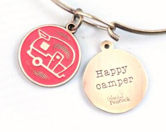 Happy Camper Reminder Token Charm Bracelet or Necklace
