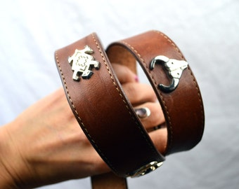 Vintage Leather Southwest Native Animal Belt - Size 34