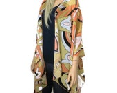 Kimono cardigan  - Yellow sunset orange,black white-Bold Geometric print -Chiffon spring/summer Ruana cardigan