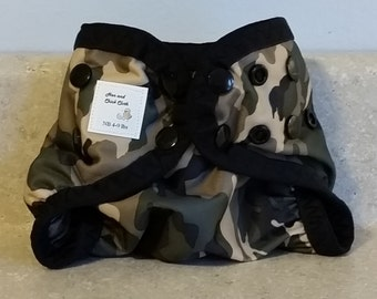 Preemie Newborn PUL Diaper Cover with Leg Gussets- 4 to 9 pounds- Camo- 20001