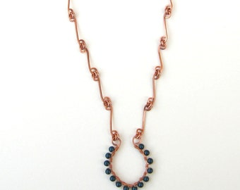 Copper Necklace, Horseshoe Pendant, Petrol Blue Pearl, 21 Inches, Wire Wrapped Pendant, Copper Link Chain, Handmade Chain, Bare Copper Wire