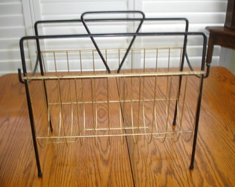 Mid Century Magazine Rack Holder Metal  Vintage Black Gold Shabby Chic Retro