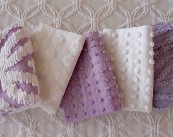 "Vintage Chenille Fabric Mini Sets - Five 12"" x 18"" pieces - Purple & white - 100-183"