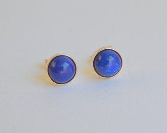 7mm Lapis Lazuli Cabochon Stud Earrings in 14K Yellow Gold Bezels