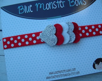 Glitter Heart Headband Red White Silver Baby Girl Toddler Headband
