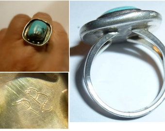 Vintage Silver Handmade Native American Style Turquoise Ring. Signed. Unknown Maker.