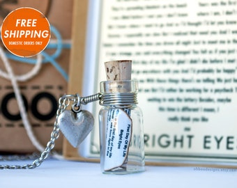 First Day Of My Life by Bright Eyes - Love Song Bottle Necklace - Bottle Necklace - Music Jewelry - Anniversary - Gift Wrapped - Ships fast