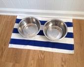 Dog Bowl Placemat Blue and White Coastal Nautical Stripe