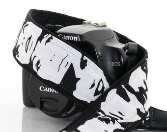 dSLR Camera Strap, Black and White, Faces, Portraits, Photo Booth, Pocket, SLR, Quick Release, Canon, Nikon, Camera Neck Strap, 148