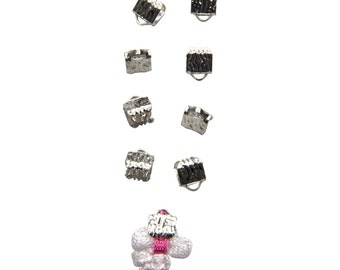 50 pcs. - 6mm or 1/4 inch Platinum Silver Ribbon Clamps - Artisan Series