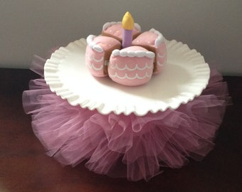 Cake Plate Tutus- Cake Decorations- Cake Plate Skirt- Birthday Party- Cake Stand Tutu- Cake Plate Stand Tutu- Party Supply