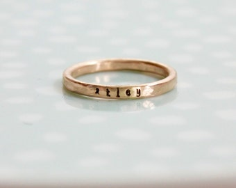 Rose Gold Filled Skinny Name Rings Stacking, Rose Gold Filled, Personalized Hand Stamped Ring, Custom Mom Ring, Kids Skinny Name Ring