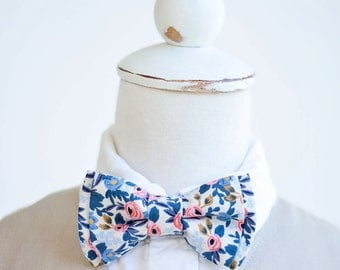 Bow Tie, Bow Ties, Boys Bow Ties, Baby Bow Ties, Bowties, Ring Bearer, Wedding Bow Ties, Rifle Paper Co - Rosa In Periwinkle
