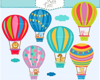 ON SALE hot air balloon clip art - hot air balloons clip art, baby animals Hot Air Balloons clip art, colorful hot air balloons