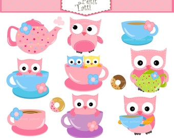 ON SALE tea party owls clip art - owls clip art, cute tea set clip art, cute owl teacup clip art