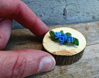 Cornstarch clay brooch with blue roses. Tiny floral pin with blue flowers garden lovers gift