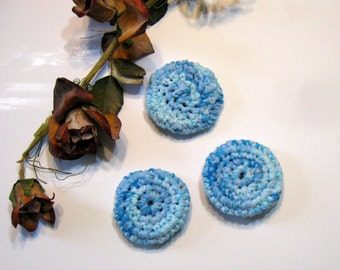 Dish Scrubbies, Dish Scrubber, Set of 3,  Handmade, Scouring Pads, Blue and White