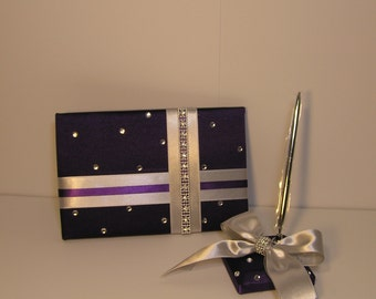 Wedding Guest Book Purple and Silver and pen holder set -made to order ,Custom Made