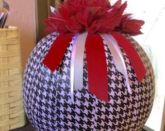 Alabama Pumpkin Centerpiece , Decorative Pumpkin , Houndstooth Pumpkin  , Fall Pumpkin